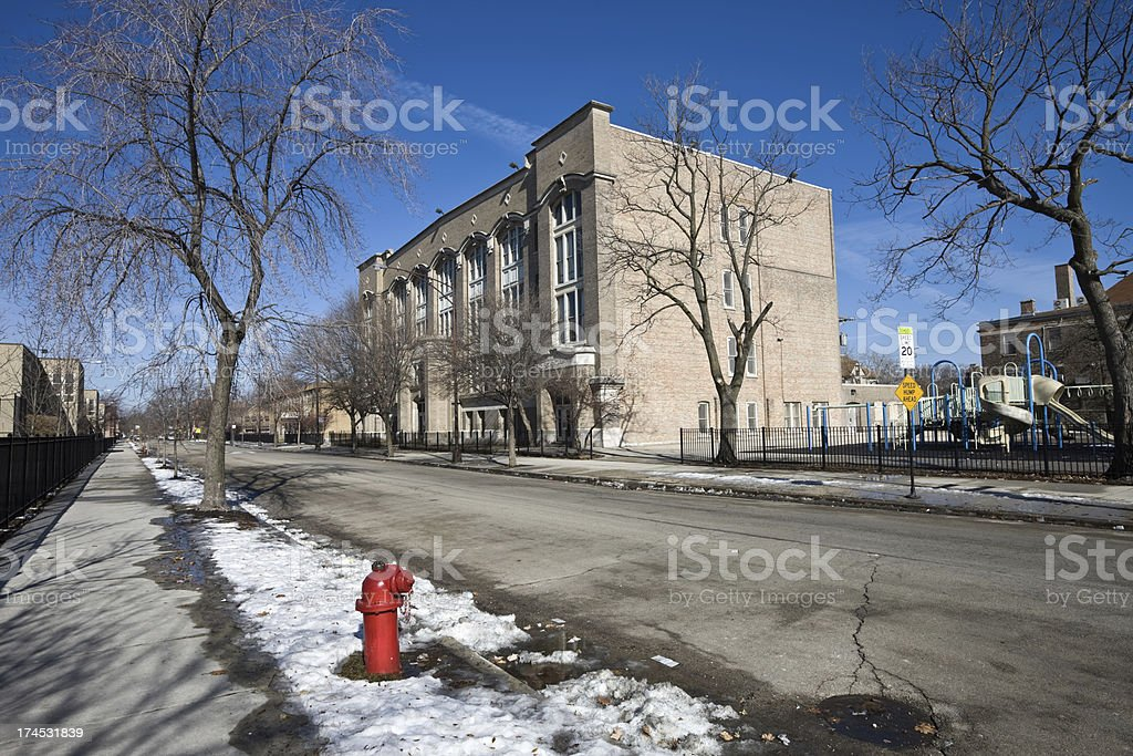 Elementary School in Chicago West Side royalty-free stock photo