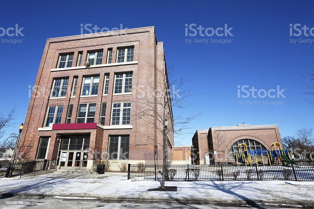 Elementary School in South Lawndale, Chicago royalty-free stock photo