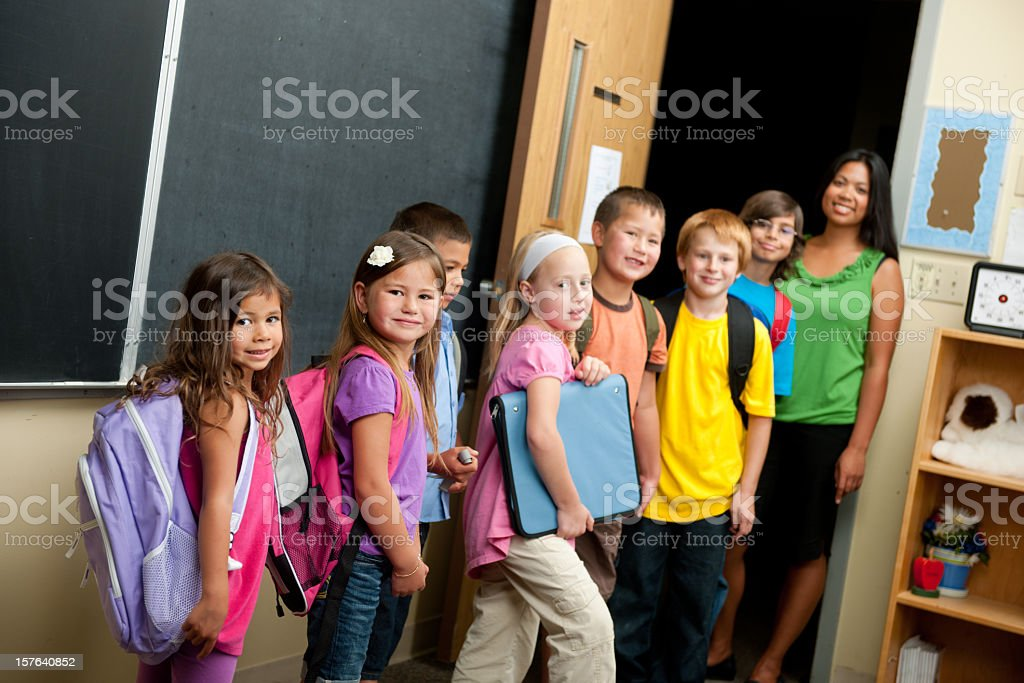 Elementary school line up royalty-free stock photo