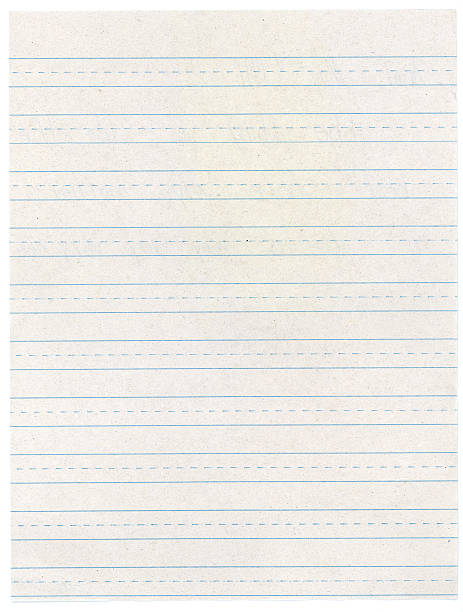 elementary school lined writing paper - dotted line stock photos and pictures