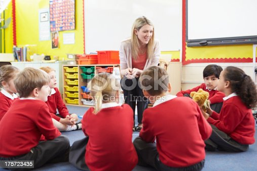 181085327 istock photo Elementary School Pupils Telling Story To Teacher 175723435