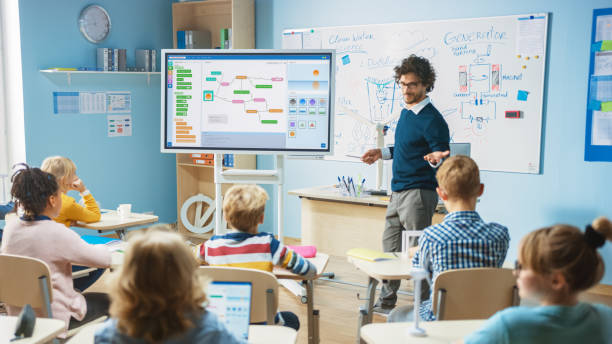 Elementary School Science Teacher Uses Interactive Digital Whiteboard to Show Classroom Full of Children how Software Programming works for Robotics. Science Class, Curious Kids Listening Attentively stock photo