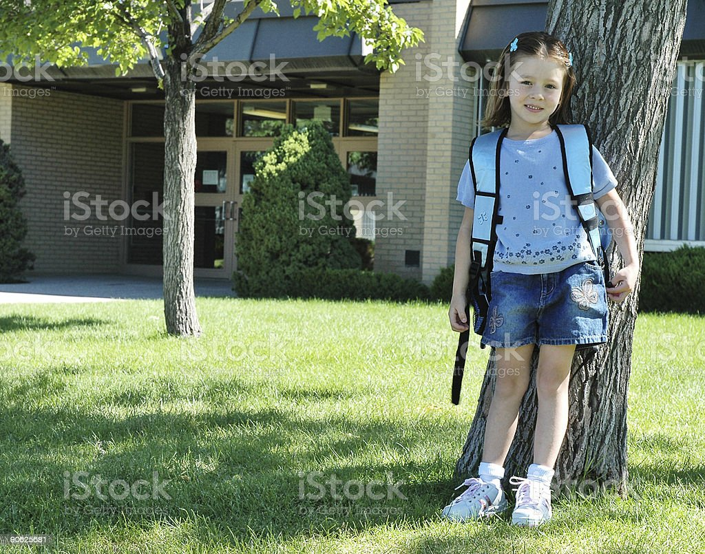 Elementary School Student: first day of kindergarten royalty-free stock photo