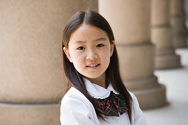 elementary schoolgirl smiling  japanese school girl stock pictures, royalty-free photos & images