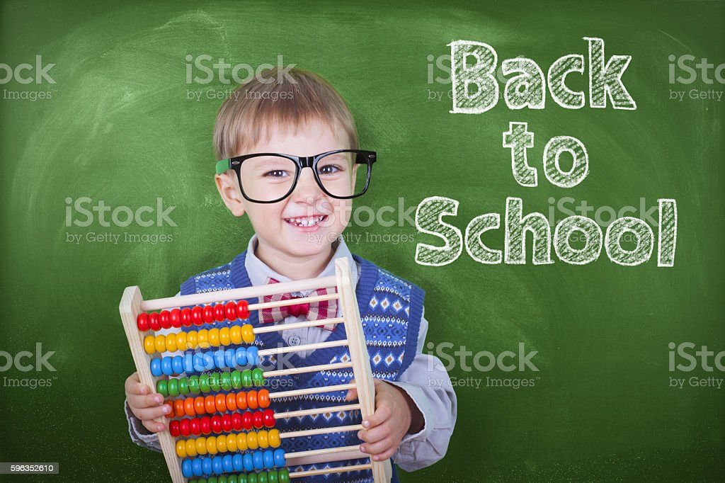 Elementary student with abacus royalty-free stock photo