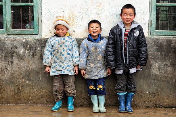 Elementary Students in front of their school in Guilin, China stock photo