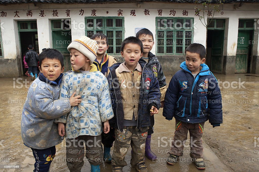 Elementary Students in Schoolyard, Yang Mei Ling, Guilin, China stock photo