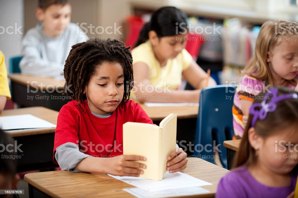 Elementary Students Reading royalty-free stock photo