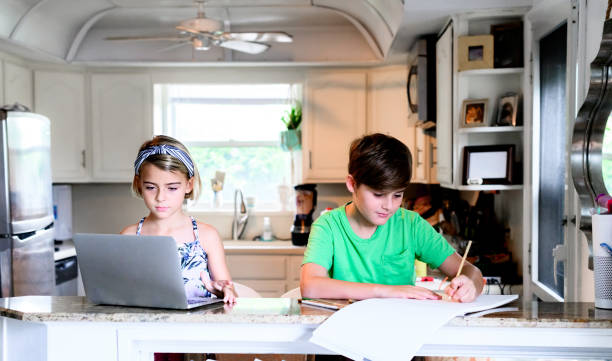 Elementery age children siblings work on schoolwork from home using computer stock photo