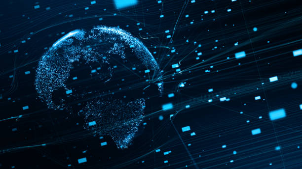 3D elements. Abstract Technology Background with Digital Globe. stock photo