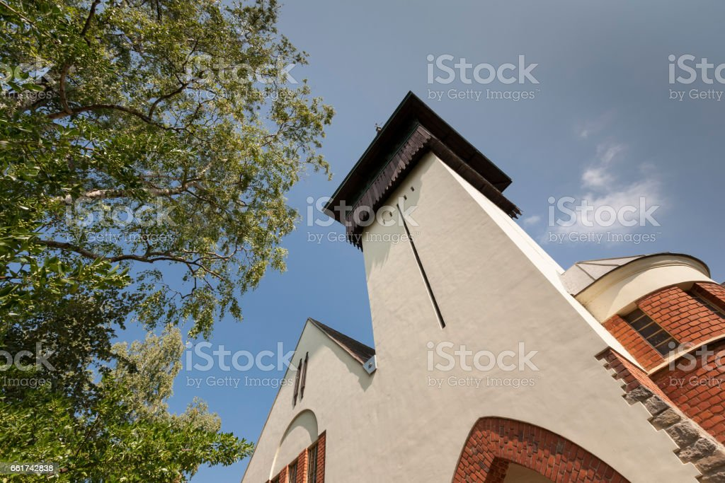 Elements of a building in the town of Keszthely against the blue sky. Hungary. stock photo