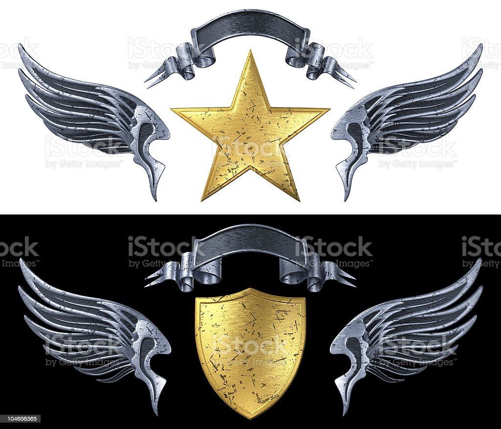 Elements of Grunge Metal Emblem (Wings, Shield, Star, Ribbon) stock photo