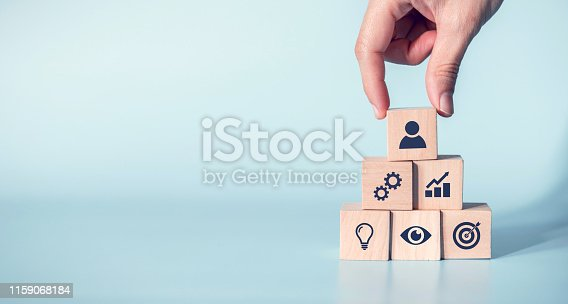Elements of leadership to success concept, Hand holding wood block with icon leader business, copy space.