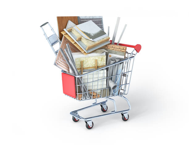 Elements of renovation stacked in a market trolley, 3d illustration stock photo