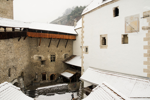 Elements of the architecture of the castle under the snow.