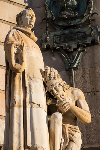 Elements of the monument to Columbus in Barcelona in Spain