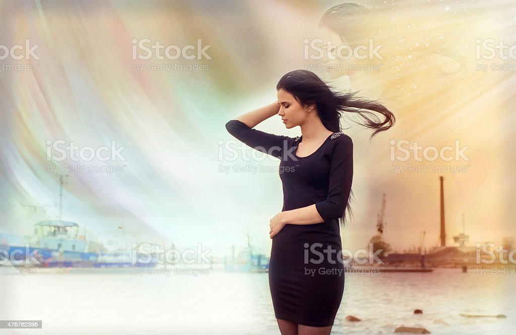 Elements, reincarnation, soul of the person, strong woman stock photo