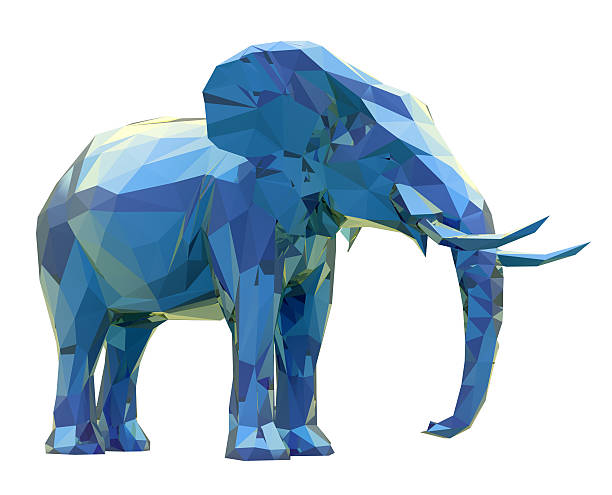 elephant, abstract geometric low poly modelling - origami elefant stock-fotos und bilder