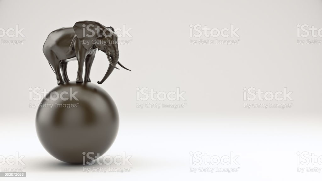 elephant and ball. stock photo