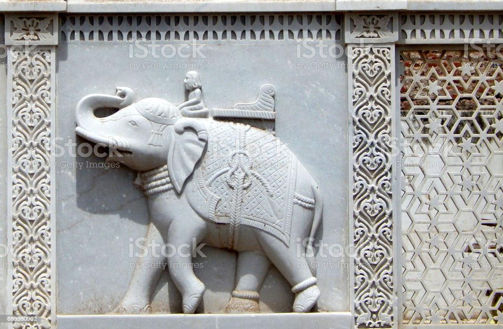 Elephant And Mesh Carvings On Marble Stone In The Exteriors