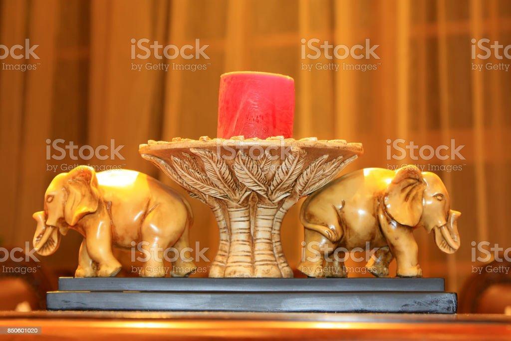 elephant candle decoration, a kind of nostalgia mood decoration stock photo