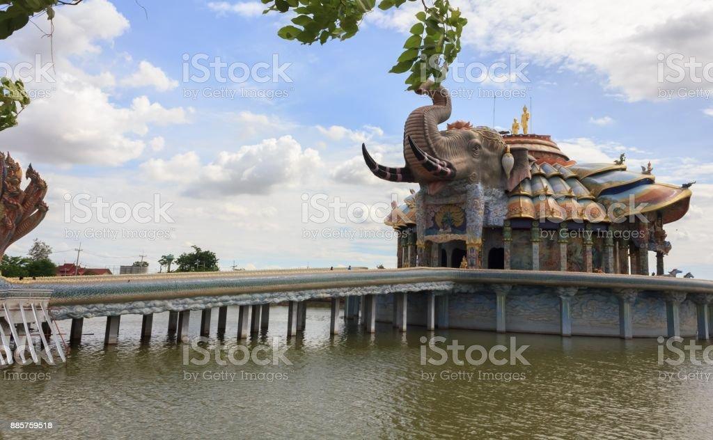 Elephant church in Thai temple. stock photo