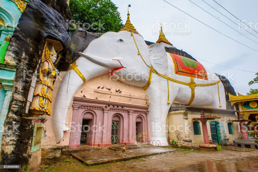 Elephant decoration of a building of the Shwe Ba Taung, a Buddhist site near Monywa, Myanmar. stock photo