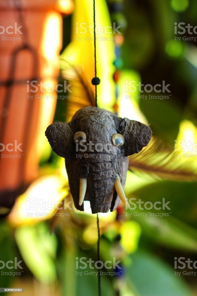 Elephant decorative pendant in the garden stock photo
