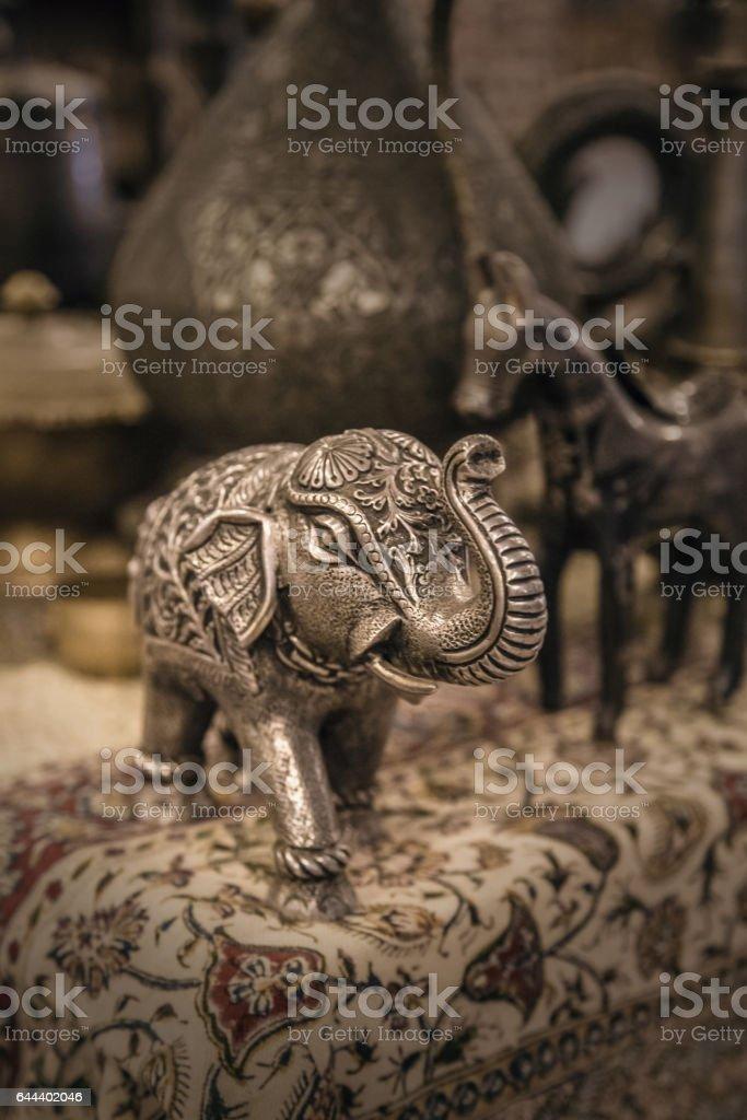 Elephant figurine made of metal stock photo