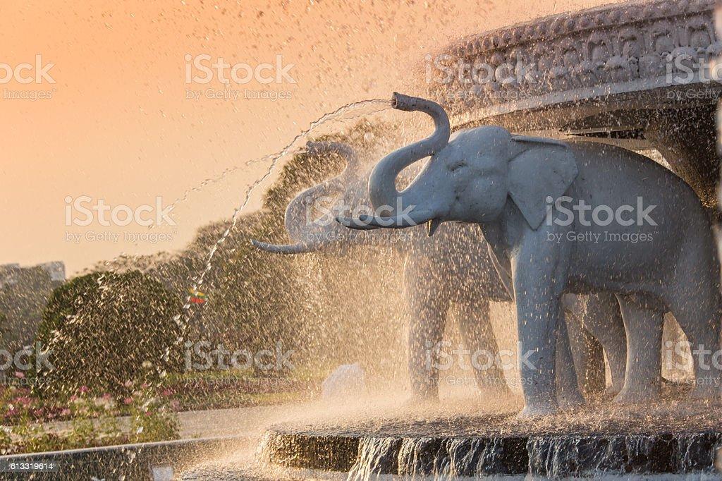 Elephant head fountain at BAPS Shri Swaminarayan Mandir in Atlanta stock photo
