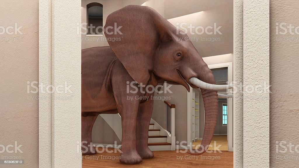 ... Elephant In The Living Room 3d Rendering Stock Photo ... Part 69