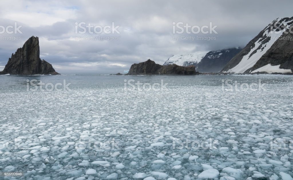Elephant Island with Sea Ice in the Foreground stock photo