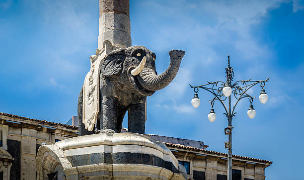 Elephant monument Elephant column statue in Catania, Sicily, Italy catania stock pictures, royalty-free photos & images