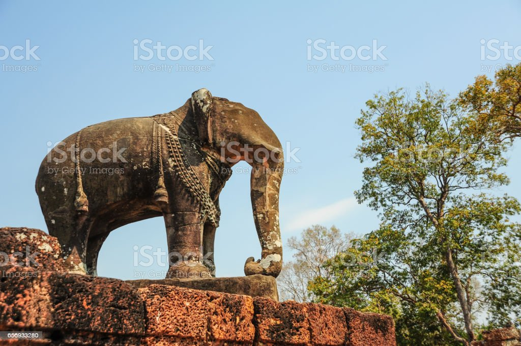 Elephant statue in Angkor Wat,Cambodia. stock photo