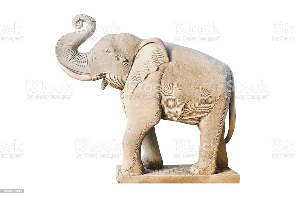 Elephant statue isolated, Clipping path stock photo