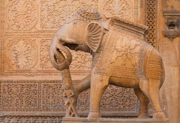 Elephant statue Nathmal Ki haveli in Jaisalmer, Rajasthan, India stock photo