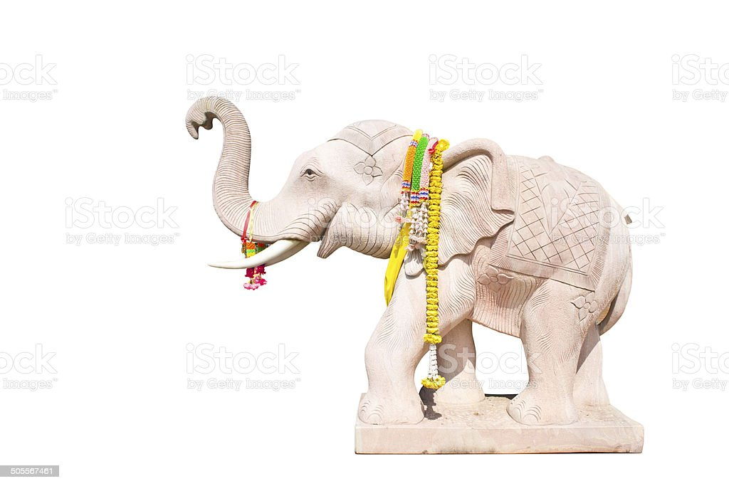 Elephant statues on white background royalty-free stock photo