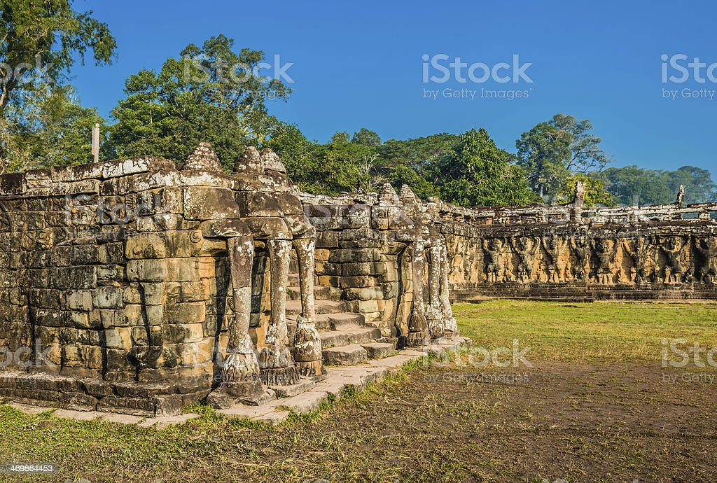elephant terrace angkor thom cambodia stock photo