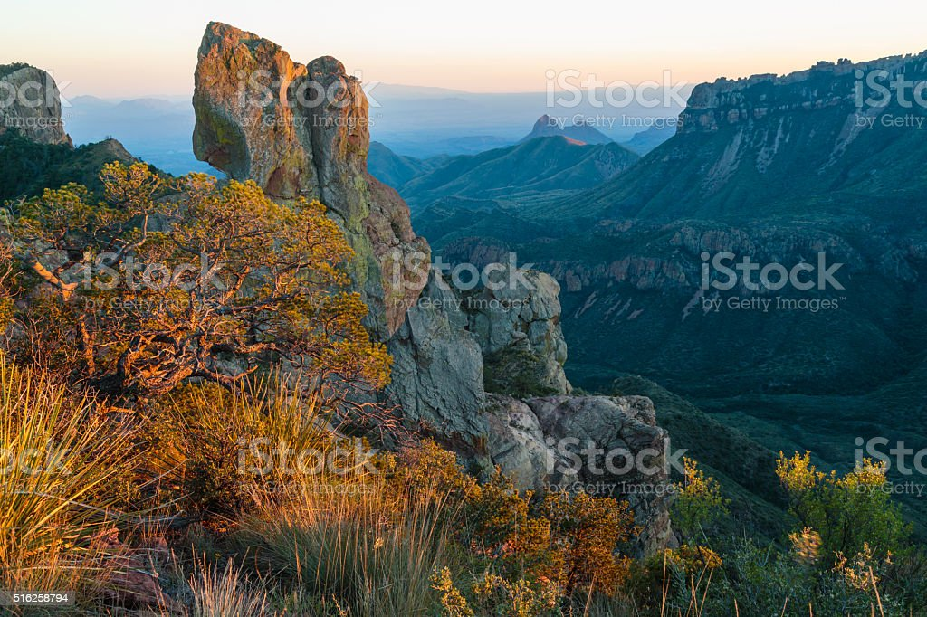 Elephant Tusk at Sunset from the Lost Mine Trail stock photo