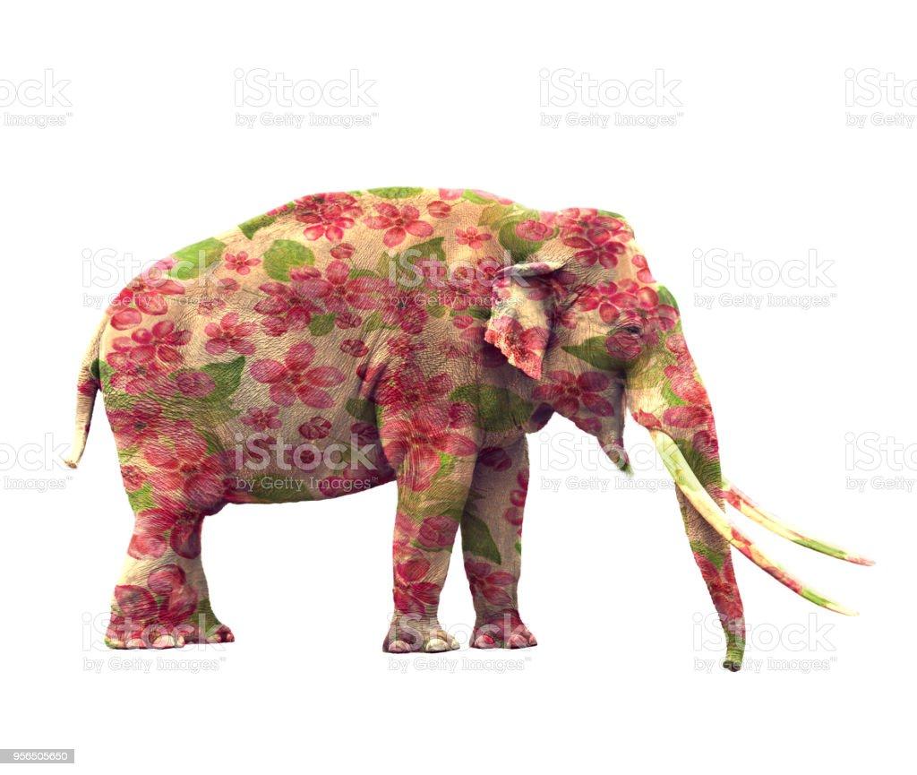 Elefant mit Blumen - Lizenzfrei Baumblüte Stock-Foto