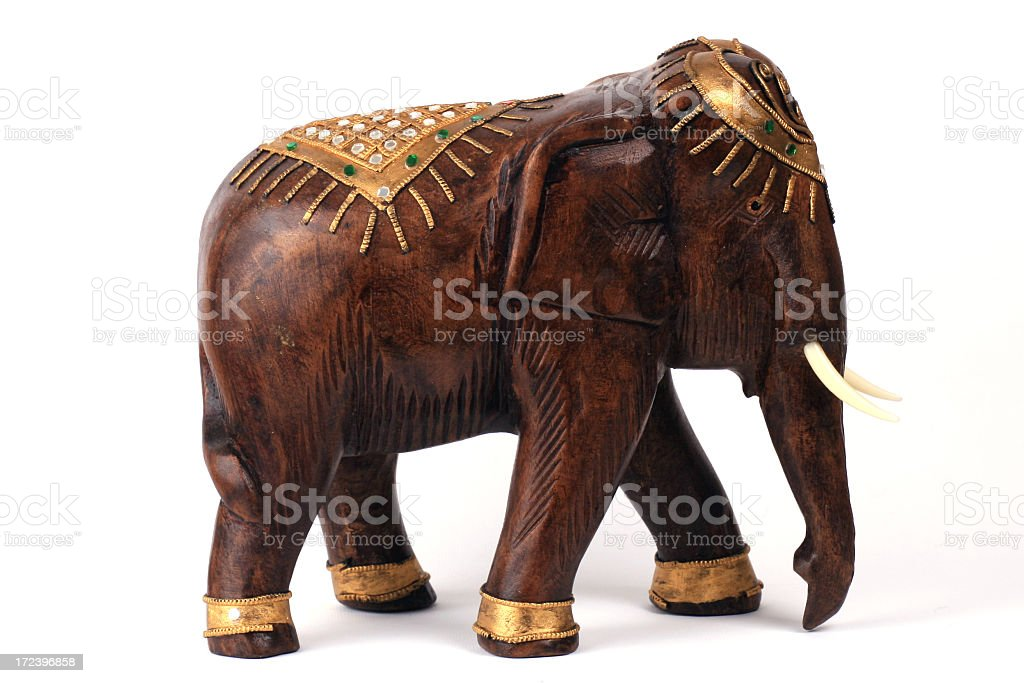 Elephant Wooden and Golden Sculpture royalty-free stock photo