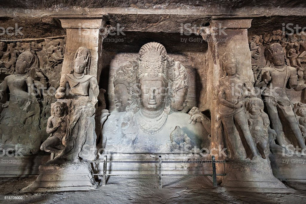 Elephanta Island caves stock photo