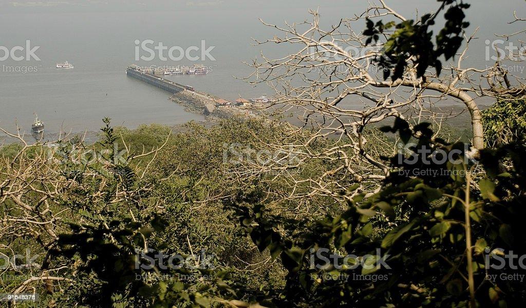 Elephanta Island pier, ariel shot stock photo