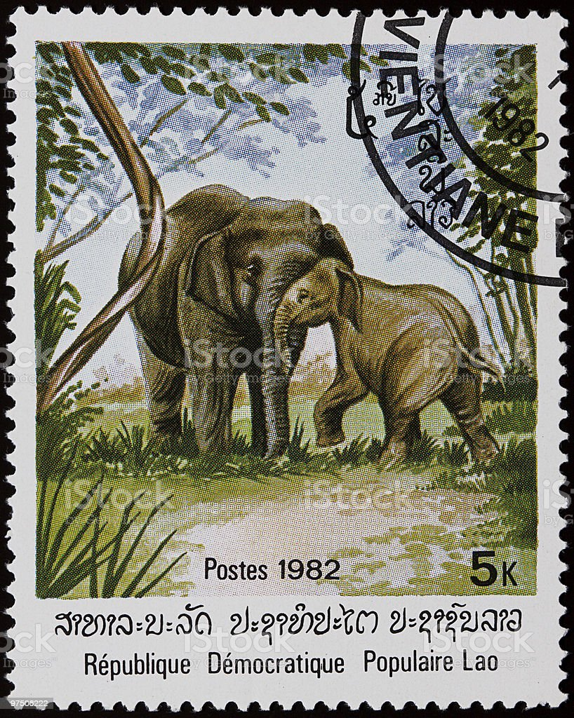 Elephants stamp royalty-free stock photo