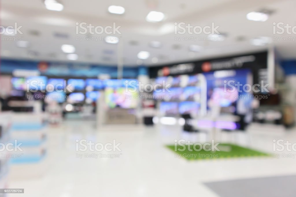 eletronic department store show Television TV and home appliance with bokeh light blurred background stock photo