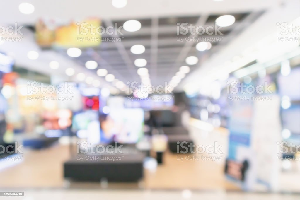 eletronic department store show Television TV and home appliance with bokeh light blurred background - Royalty-free Abstract Stock Photo