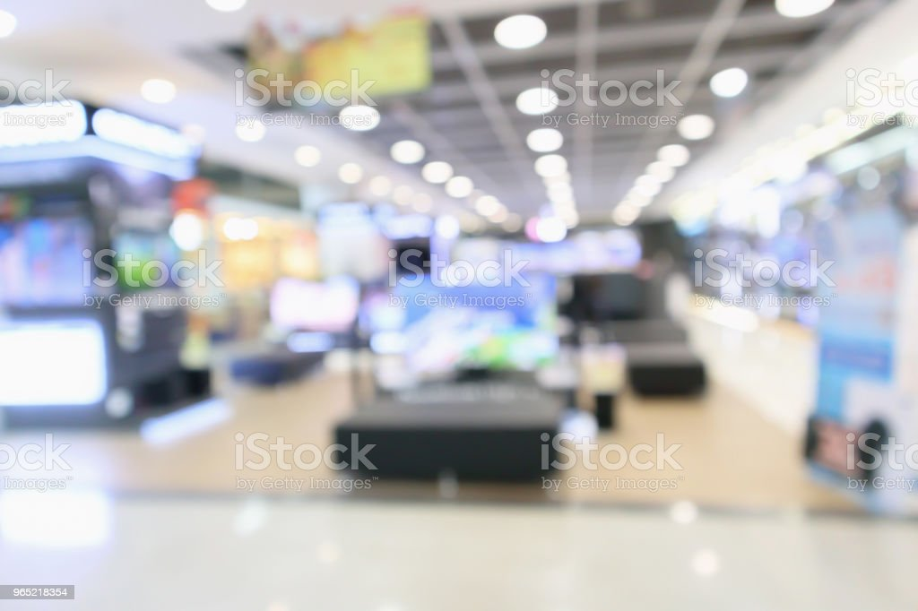 eletronic department store show Television TV and home appliance with bokeh light blurred background royalty-free stock photo