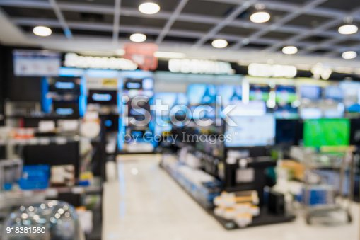 istock eletronic department store with bokeh blurred background 918381560