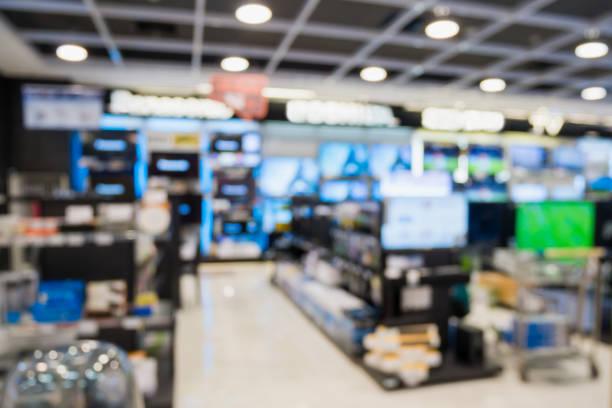 eletronic department store with bokeh blurred background - sprzęt elektroniczny zdjęcia i obrazy z banku zdjęć
