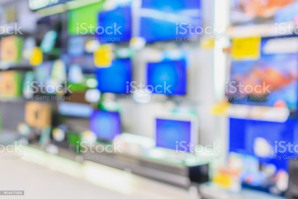 eletronic department store with Television shelves stock photo